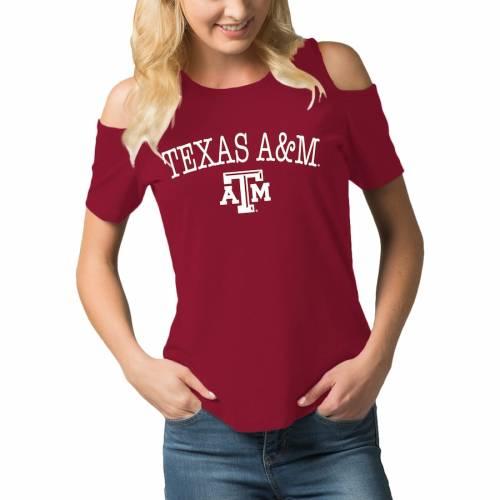 BOXERCRAFT テキサス レディース ジャージ Tシャツ レディースファッション トップス カットソー 【 Texas Aandm Aggies Womens Sueded Jersey Cold Shoulder T-shirt - Maroon 】 Maroon