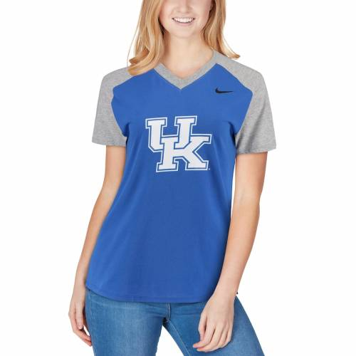 ナイキ NIKE ケンタッキー レディース ラグラン ブイネック Tシャツ レディースファッション トップス カットソー 【 Kentucky Wildcats Womens Fan Raglan V-neck T-shirt - Royal 】 Royal