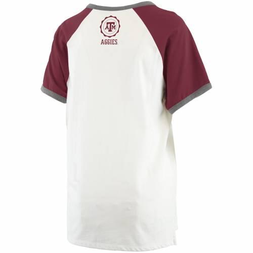 PRESSBOX テキサス レディース ラグラン Tシャツ レディースファッション トップス カットソー 【 Texas Aandm Aggies Womens Nova Ringer Raglan T-shirt - White/maroon 】 White/maroon