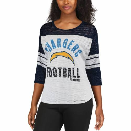 G-III 4HER BY CARL BANKS チャージャーズ レディース チーム スリーブ Tシャツ レディースファッション トップス カットソー 【 Los Angeles Chargers Womens First Team Three-quarter Sleeve Mesh T-shirt - White/nav