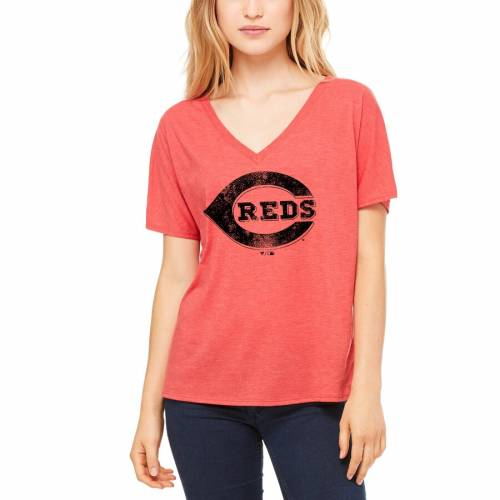 LET LOOSE BY RNL シンシナティ レッズ レディース ロゴ Tシャツ 赤 レッド レディースファッション トップス カットソー 【 Cincinnati Reds Womens Distressed Primary Logo T-shirt - Red 】 Red