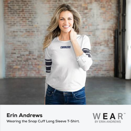 WEAR BY ERIN ANDREWS チャージャーズ レディース スリーブ Tシャツ 白 ホワイト レディースファッション トップス カットソー 【 Los Angeles Chargers Womens Snap Cuff Long Sleeve T-shirt - White 】 White