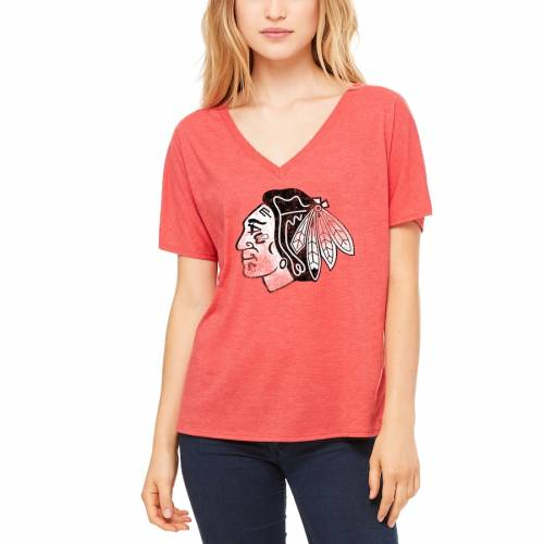 LET LOOSE BY RNL シカゴ レディース ブイネック Tシャツ 赤 レッド レディースファッション トップス カットソー 【 Chicago Blackhawks Womens Distressed Primary V-neck T-shirt - Red 】 Red