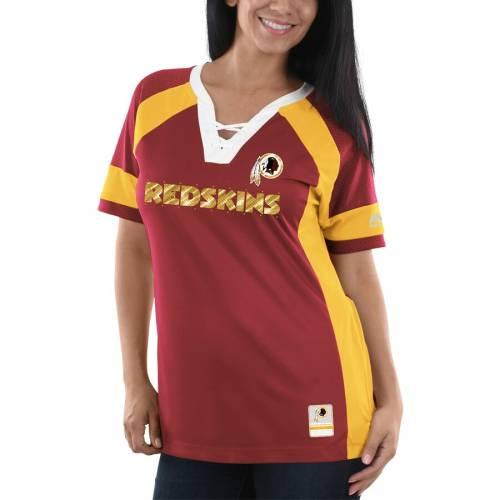 マジェスティック MAJESTIC ワシントン レッドスキンズ レディース ブイネック Tシャツ レディースファッション トップス カットソー 【 Washington Redskins Womens Draft Me V-neck T-shirt - Burgundy/gold