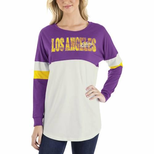 ニューエラ NEW ERA レイカーズ レディース ジャージ スリーブ Tシャツ レディースファッション トップス カットソー 【 Los Angeles Lakers Womens Baby Jersey Contrast Long Sleeve Crew Neck T-shirt - White/pur