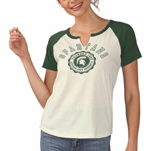 TOUCH BY ALYSSA MILANO ミシガン スケートボード レディース Tシャツ レディースファッション トップス カットソー 【 Michigan State Spartans Womens Grounded Notch Neck T-shirt - White/green 】 White/green