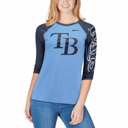 ナイキ NIKE レイズ レディース チーム ラグラン Tシャツ 青 ブルー レディースファッション トップス カットソー 【 Tampa Bay Rays Womens Team Color Tri-blend 3/4-sleeve Raglan T-shirt - Light Blue 】 Light