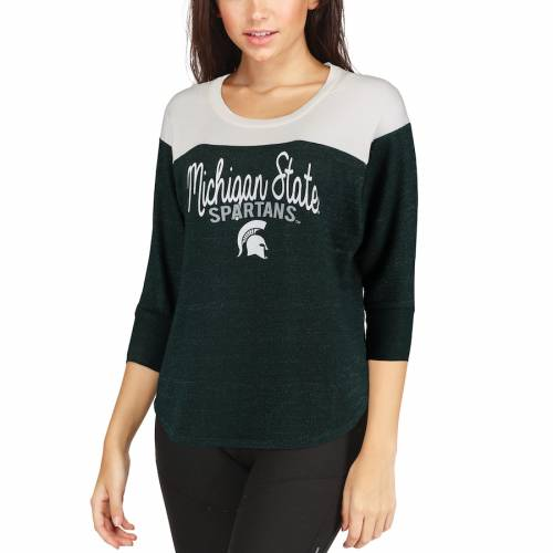 BLUE 84 ミシガン スケートボード レディース Tシャツ 緑 グリーン レディースファッション トップス カットソー 【 Michigan State Spartans Womens Terry Quarter-sleeve Yolk T-shirt - Green 】 Green