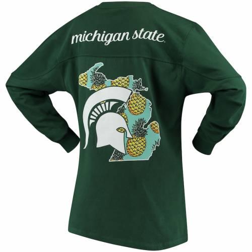 PRESSBOX ミシガン スケートボード レディース スリーブ Tシャツ 緑 グリーン レディースファッション トップス カットソー 【 Michigan State Spartans Womens Aloha Pineapple Big Long Sleeve T-shirt - Green