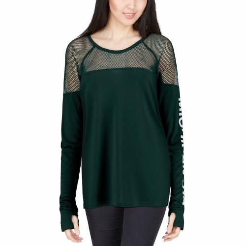 ZOOZATZ ミシガン スケートボード レディース スリーブ Tシャツ 緑 グリーン レディースファッション トップス カットソー 【 Michigan State Spartans Womens Kickoff Long Sleeve Mesh T-shirt - Green 】 Green