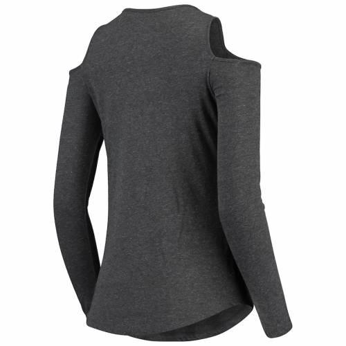 BOXERCRAFT ミシガン スケートボード レディース スリーブ Tシャツ チャコール レディースファッション トップス カットソー 【 Michigan State Spartans Womens Cold Shoulder Long Sleeve T-shirt - Heathered Cha