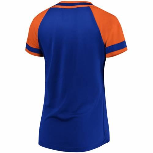 マジェスティック MAJESTIC メッツ レディース ラグラン Tシャツ レディースファッション トップス カットソー 【 New York Mets Womens League Diva Raglan Placket T-shirt - Royal 】 Royal