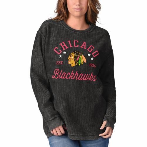 G-III 4HER BY CARL BANKS シカゴ レディース スリーブ Tシャツ 黒 ブラック レディースファッション トップス カットソー 【 Chicago Blackhawks Womens Comfy Cord Long Sleeve Tri-blend T-shirt - Black 】 Black