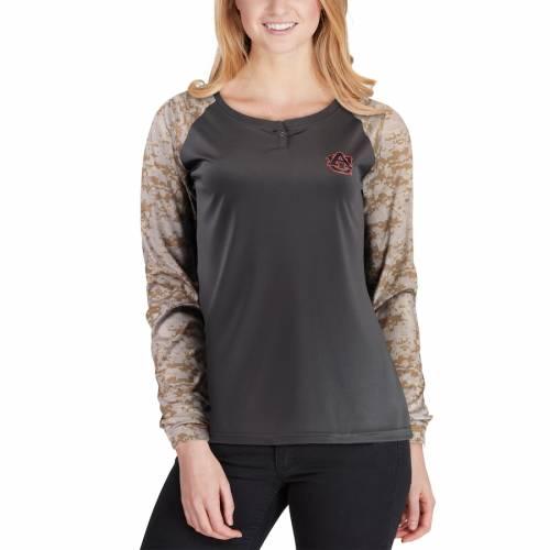 COLOSSEUM タイガース レディース ラグラン スリーブ ヘンリー Tシャツ レディースファッション トップス カットソー 【 Auburn Tigers Womens United We Stand Camo Raglan Long Sleeve Henley T-shirt - Charcoal/ca