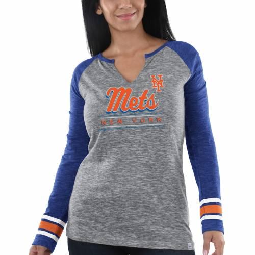 マジェスティック MAJESTIC メッツ レディース スリーブ Tシャツ レディースファッション トップス カットソー 【 New York Mets Womens Times Running Out Long Sleeve T-shirt - Heathered Gray/royal 】 Heathered G