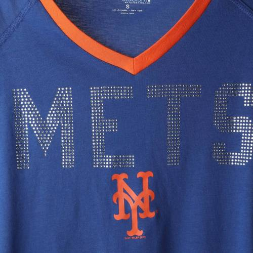 TOUCH BY ALYSSA MILANO メッツ レディース アルティメイト ラグラン ブイネック Tシャツ レディースファッション トップス カットソー 【 New York Mets Womens Ultimate Fan 3/4-sleeve Raglan V-neck T-shirt - R