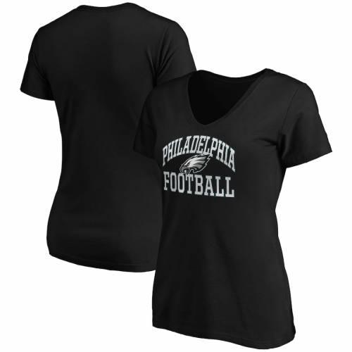 マジェスティック MAJESTIC マジェスティック フィラデルフィア イーグルス レディース フランチャイズ ブイネック Tシャツ 黒 ブラック WOMEN'S 【 FRANCHISE BLACK MAJESTIC PHILADELPHIA EAGLES SHOWTIME F