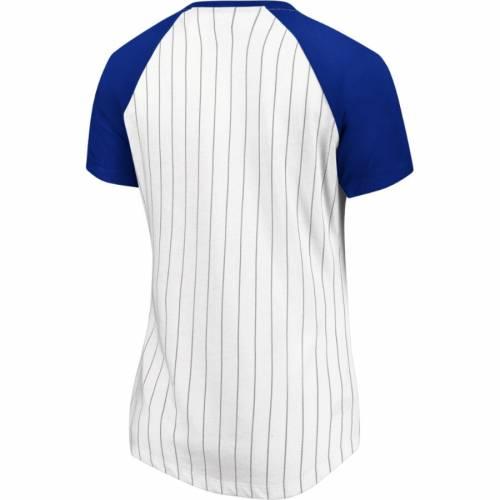マジェスティック MAJESTIC メッツ レディース ラグラン ブイネック Tシャツ 白 ホワイト レディースファッション トップス カットソー 【 New York Mets Womens Every Aspect Pinstripe Raglan V-neck T-shir