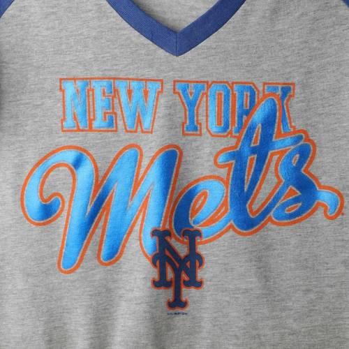 G-III 4HER BY CARL BANKS メッツ レディース ラグラン ブイネック Tシャツ レディースファッション トップス カットソー 【 New York Mets Womens Goal Line Raglan V-neck T-shirt - Gray/royal 】 Gray/royal