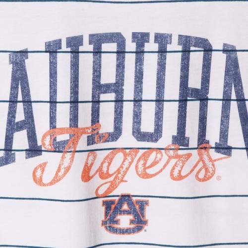 BLUE 84 タイガース レディース スリーブ Tシャツ 白 ホワイト レディースファッション トップス カットソー 【 Auburn Tigers Womens Nora Striped Rolled Sleeve T-shirt - White 】 White