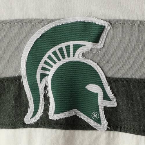PRESSBOX ミシガン スケートボード レディース スリーブ Tシャツ 白 ホワイト レディースファッション トップス カットソー 【 Michigan State Spartans Womens Schroeder Ringer Two-hit Long Sleeve T-shirt - Wh