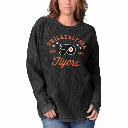 G-III 4HER BY CARL BANKS フィラデルフィア レディース スリーブ Tシャツ 黒 ブラック レディースファッション トップス カットソー 【 Philadelphia Flyers Womens Comfy Cord Long Sleeve Tri-blend T-shirt - Blac