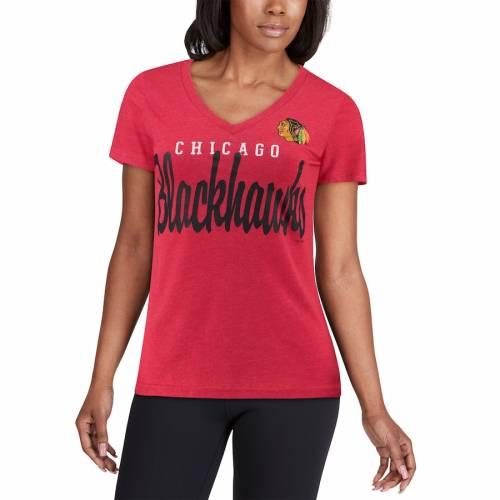 G-III 4HER BY CARL BANKS シカゴ レディース ゲーム ブイネック Tシャツ 赤 レッド レディースファッション トップス カットソー 【 Chicago Blackhawks Womens Game Day V-neck T-shirt - Red 】 Red