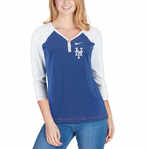 ナイキ NIKE メッツ レディース ヘンリー ラグラン パフォーマンス ブイネック Tシャツ レディースファッション トップス カットソー 【 New York Mets Womens Henley 3/4-sleeve Raglan Tri-blend Performan