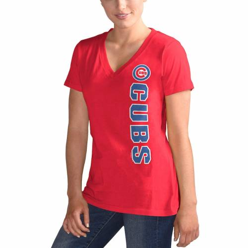 G-III 4HER BY CARL BANKS シカゴ カブス レディース ブイネック Tシャツ 赤 レッド レディースファッション トップス カットソー 【 Chicago Cubs Womens Asterisk V-neck T-shirt - Red 】 Red