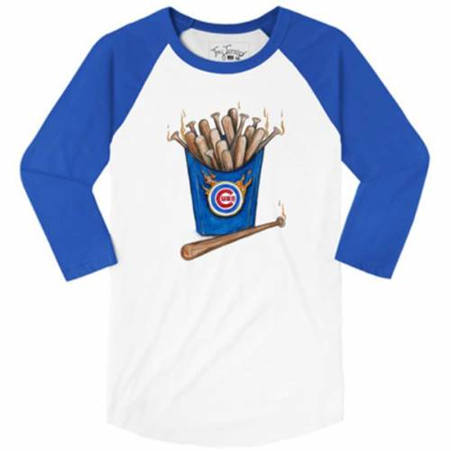 TINY TURNIP シカゴ カブス レディース スリーブ ラグラン Tシャツ レディースファッション トップス カットソー 【 Chicago Cubs Womens Hot Bats 3/4 Sleeve Raglan T-shirt - White/royal 】 White/royal