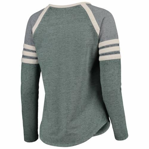 CONCEPTS SPORT ミシガン スケートボード レディース ラグラン スリーブ Tシャツ レディースファッション トップス カットソー 【 Michigan State Spartans Womens Cross Neck Raglan Long Sleeve T-shirt - Green/c