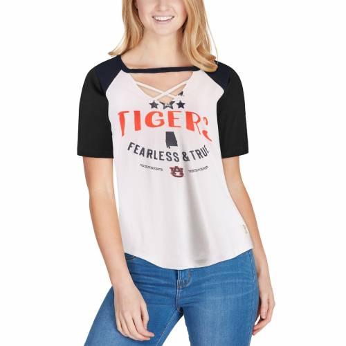 PRESSBOX タイガース レディース ラグラン Tシャツ 白 ホワイト 紺 ネイビー WOMEN'SRAGLAN WHITE NAVY PRESSBOX AUBURN TIGERS ABBIE CRISSCROSS CHOKER TSHIRTレディースファッション トップス Tシャツ カIE2D9H