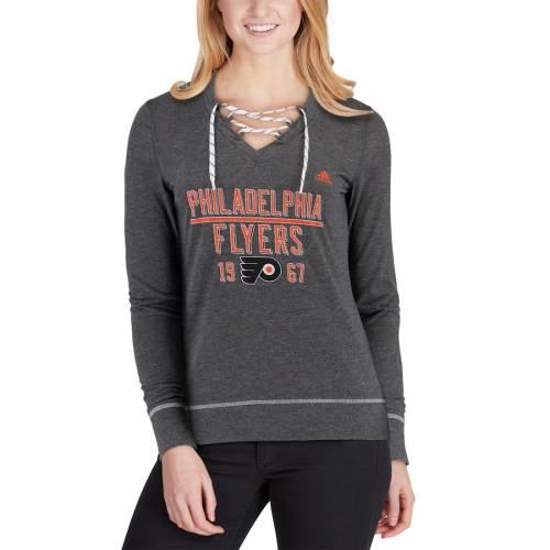 アディダス ADIDAS フィラデルフィア レディース ダウン スケート スリーブ Tシャツ 灰色 グレー グレイ レディースファッション トップス カットソー 【 Philadelphia Flyers Womens Bar Down Skate L