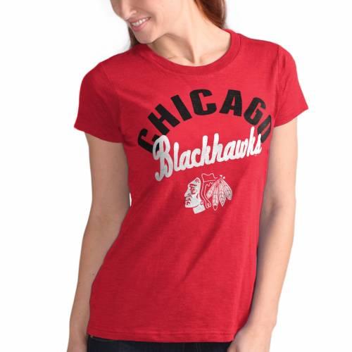 G-III 4HER BY CARL BANKS シカゴ レディース Tシャツ 赤 レッド レディースファッション トップス カットソー 【 Chicago Blackhawks Womens Tailgate T-shirt - Red 】 Red