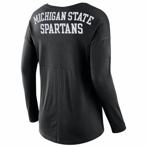 ナイキ NIKE ミシガン スケートボード レディース スリーブ Tシャツ 黒 ブラック レディースファッション トップス カットソー 【 Michigan State Spartans Womens Tailgate Long Sleeve T-shirt - Black 】 Bl