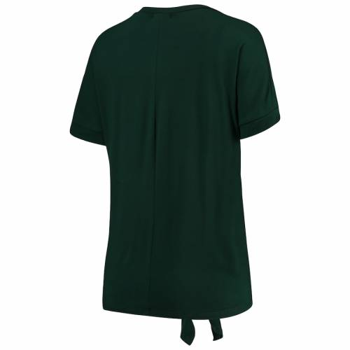 GAMEDAY COUTURE ミシガン スケートボード レディース ブイネック Tシャツ 緑 グリーン レディースファッション トップス カットソー 【 Michigan State Spartans Womens On A Break V-neck Knot T-shirt - Green