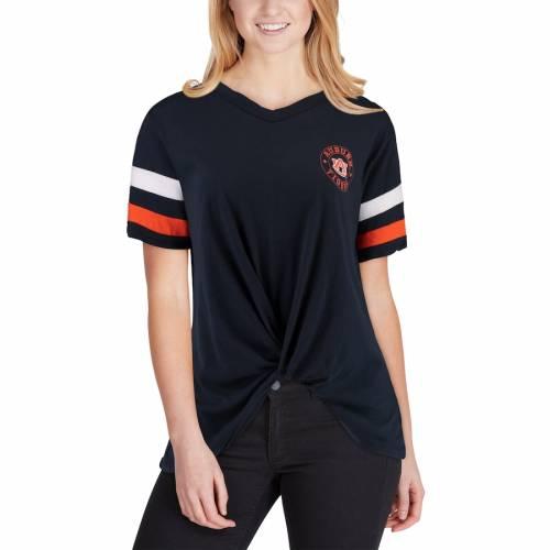 PRESSBOX タイガース レディース ブイネック Tシャツ 紺 ネイビー レディースファッション トップス カットソー 【 Auburn Tigers Womens Knotted Hem V-neck T-shirt - Navy 】 Navy
