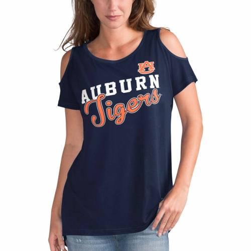 G-III 4HER BY CARL BANKS タイガース レディース Tシャツ 紺 ネイビー レディースファッション トップス カットソー 【 Auburn Tigers Womens Clear The Bases Cold Shoulder T-shirt - Navy 】 Navy