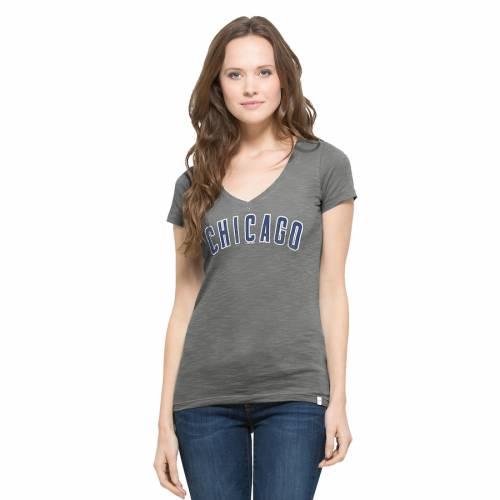 '47 シカゴ カブス レディース ブイネック Tシャツ 灰色 グレー グレイ レディースファッション トップス カットソー 【 Chicago Cubs Womens Away V-neck T-shirt - Gray 】 Gray