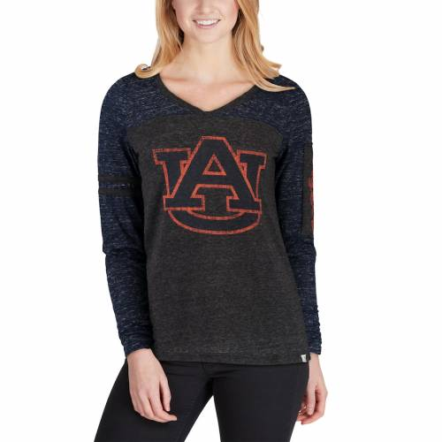 COLOSSEUM タイガース レディース スタンス スリーブ ストライプ Tシャツ 黒 ブラック レディースファッション トップス カットソー 【 Auburn Tigers Womens Stance Sleeve Stripe Patch Long Sleeve T-shirt -