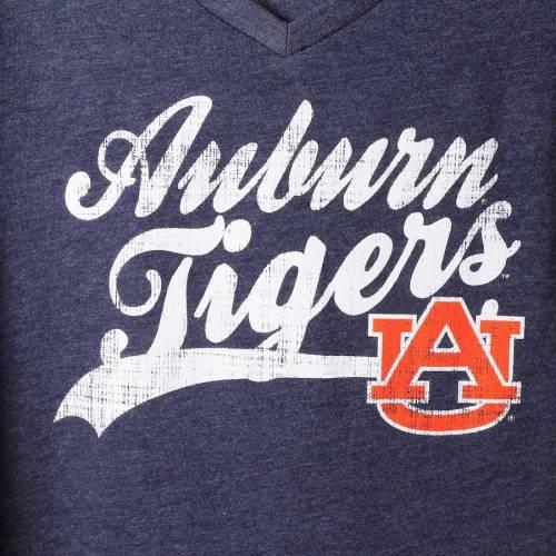 COLOSSEUM タイガース レディース スクリプト ブイネック Tシャツ 紺 ネイビー レディースファッション トップス カットソー 【 Auburn Tigers Womens Script Mascot V-neck T-shirt - Heathered Navy 】 Heathere