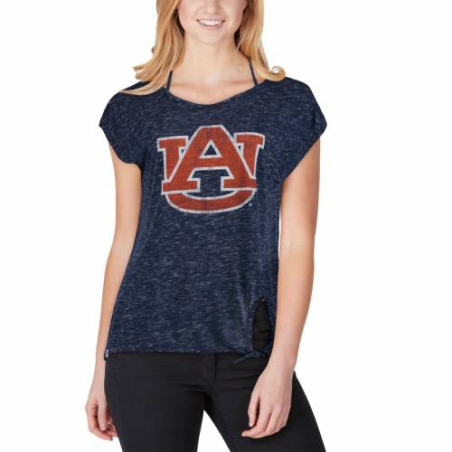 COLOSSEUM タイガース レディース Tシャツ 紺 ネイビー レディースファッション トップス カットソー 【 Auburn Tigers Womens Como Speckle Yarn Tie Front T-shirt - Navy 】 Navy