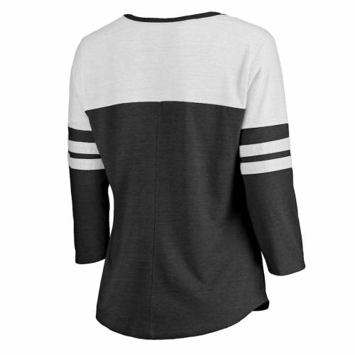 NFL PRO LINE BY FANATICS BRANDED デトロイト ライオンズ レディース ロゴ スリーブ ラグラン Tシャツ 黒 ブラック レディースファッション トップス カットソー 【 Detroit Lions Womens Distressed Primary