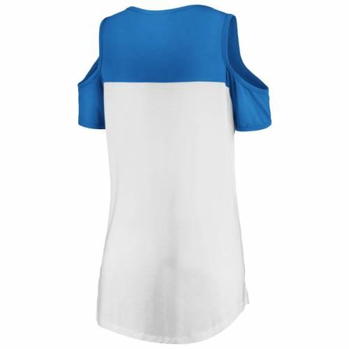 マジェスティック MAJESTIC デトロイト ライオンズ レディース ピュア Tシャツ レディースファッション トップス カットソー 【 Detroit Lions Womens Pure Dedication Open Shoulder T-shirt - White/blue 】 Wh