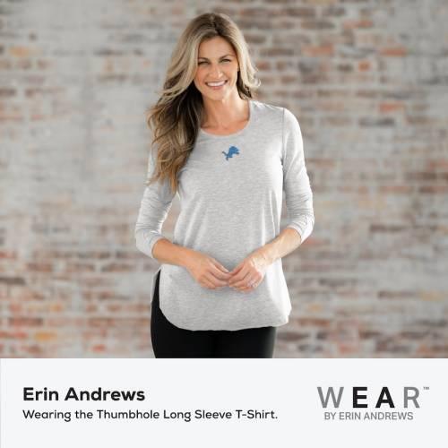 WEAR BY ERIN ANDREWS デトロイト ライオンズ レディース スリーブ Tシャツ ヘザー 灰色 グレー グレイ レディースファッション トップス カットソー 【 Detroit Lions Womens Thumbhole Long Sleeve T-shirt