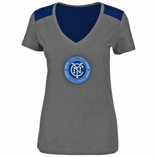 マジェスティック MAJESTIC シティ レディース ブイネック Tシャツ チャコール レディースファッション トップス カットソー 【 New York City Fc Womens V-neck Contrast T-shirt - Charcoal 】 Charcoal