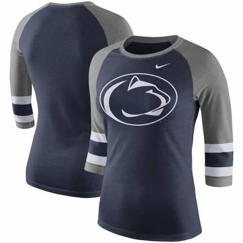 ナイキ NIKE スケートボード ライオンズ レディース スリーブ ストライプ ラグラン Tシャツ 紺 ネイビー レディースファッション トップス カットソー 【 Penn State Nittany Lions Womens Sleeve Str