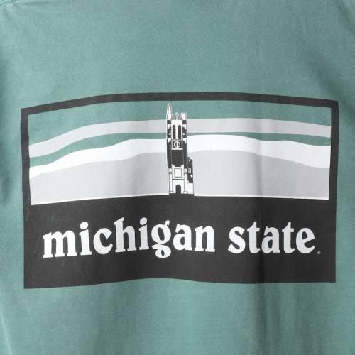 SUMMIT SPORTSWEAR ミシガン スケートボード レディース キャンパス スリーブ Tシャツ 緑 グリーン レディースファッション トップス カットソー 【 Michigan State Spartans Womens Comfort Colors Campus Sky