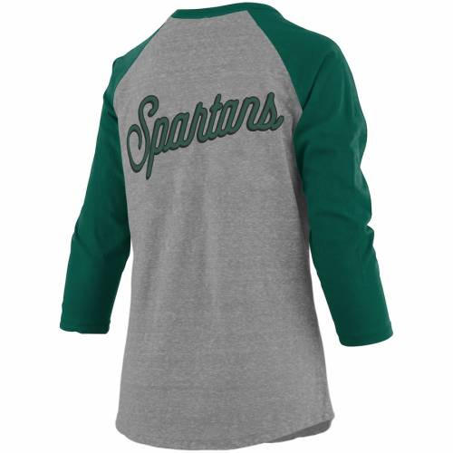 PRESSBOX ミシガン スケートボード レディース ラグラン スリーブ Tシャツ レディースファッション トップス カットソー 【 Michigan State Spartans Womens Two-hit Lace-up Raglan Long Sleeve T-shirt - Heathere