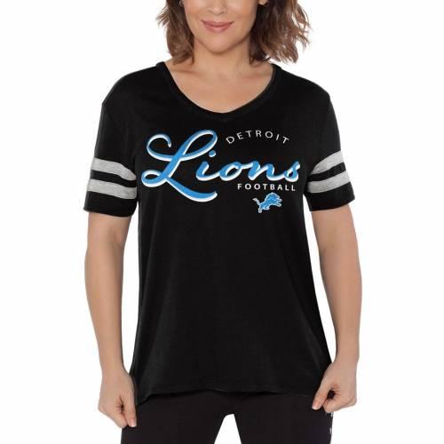 TOUCH BY ALYSSA MILANO デトロイト ライオンズ レディース ブイネック Tシャツ 黒 ブラック レディースファッション トップス カットソー 【 Detroit Lions Womens Triple Play V-neck T-shirt - Black 】 Black